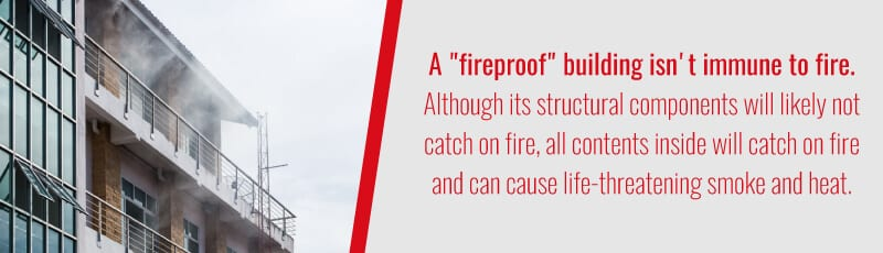 fireproofed buildings are not totally fireproof
